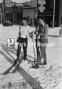 Gene and Norma Goodmanson pose with their skis and poles on Main Street, ca.1939 (Image: 1997-12-1, Gene Wentworth Brocklebank Collection)
