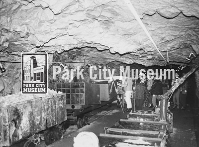 """Unloading the """"Skier Subway,"""" ca.1965-1969 (Image: 1995-6-2, Park City Ski Area Collection)"""