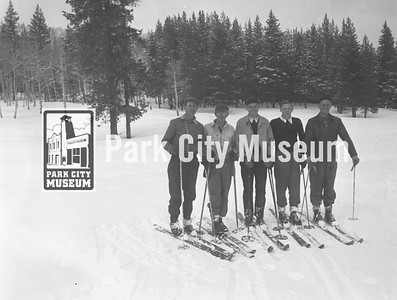 Five skiers line up in preparation for jumping, ca.1948 (Image: 2000-17-229B, Kendall Webb Collection)