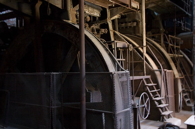 Stephen says these were the big fly wheels of the air compressors that fed air to the blast furnaces.