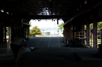 Looking out toward the roadway that used to 'catch on fire from the furnaces.'