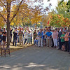 The 2012 Cemetery Walk began at this spot in the road just in front of the Lown family markers.  Ernie Lown (Tim Molseed) addresses the throng of folks gathered for the 2012 Historical Cemetery Walk on Sunday, September 23, 2012 at Rose Hill Cemetery in Spearfish.