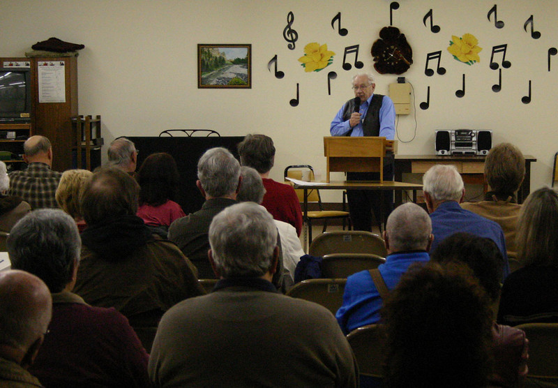 "<b><I> THE TOWN OF SPEARFISH, BORN 1876 AND BORN AGAIN....AND AGAIN</i></b> 6 April 2010  Linfred Schuttler returned Tuesday, April 6, 2010,  for another great program, this time talking about the several ""re-births"" of the Spearfish community.  As noted by Spearfish Area Historical Society president Rand Williams, Linfred always seems to fill the house -- and this time was no exception!"