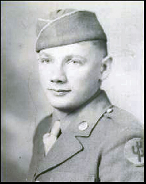 A bit of background now on our presenter for the April 2010 program.<br /> <br /> Pictured here is a very young Linfred  LeRoy Schuttler.  A store clerk before World War II, Linfred was drafted in 1943 and completed basic training at Camp Wolters, Texas.  He was part of a 60mm mortar squad of the 103rd Division when he shipped out to Marseilles, France in October 1944.    His unit was part of the US Seventh Army and was sent to the Alsace-Lorraine area of eastern France. During the Battle of the Bulge, they were re-assigned to the US Third Army.   The division ended the war in the Brenner Pass area of Austria and Italy.  Linfred was hospitalized for two months in early 1945 with hepatitis.  He left the Army in 1946 with the Bronze Star, European Theater Ribbon with three Battle Stars and the Combat Infantry Badge.