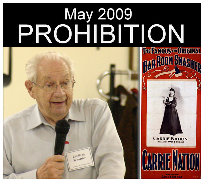"Linfred Schuttler gave the final program of the year; it was a narrative regarding early prohibition years in South Dakota.<br /> <br /> The national era of prohibition didn't occur until 1919, when the 18th Amendment to the U.S. Constitution was ratified by 36 states.  While it didn't ban the consumption of alcohol, it placed severe restrictions that made consumption seemingly impossible.  It took effect in 1920, but was circumvented in a variety of ways.<br /> <br /> More than a decade later, in 1933, the government came to recognize the futility of the law, and prohibition ended with the ratification of the the 21st Amendment.  It is the sole case where  an amendment to the U.S. Constitution has been repealed.<br /> <br /> Schuttler's May presentation focused on earlier ""temperance"" laws in South Dakota.  He recounted how three different periods of prohibition occurred between 1889 and 1933."