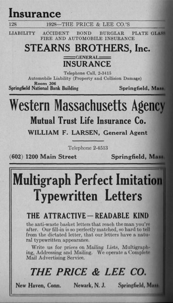Springfield Directory Ads 1928 101
