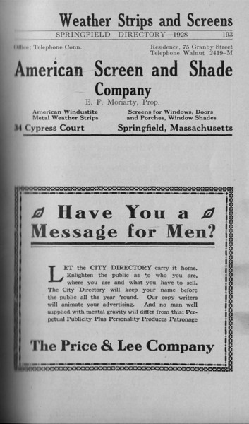 Springfield Directory Ads 1928 166