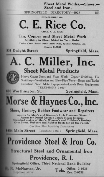 Springfield Directory Ads 1928 156