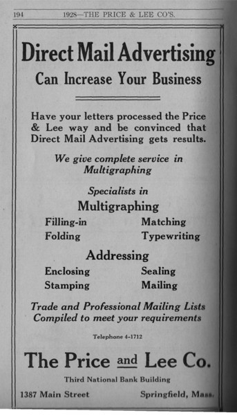 Springfield Directory Ads 1928 167