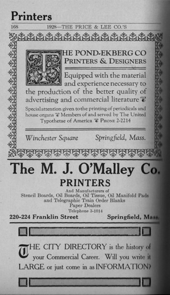 Springfield Directory Ads 1928 141