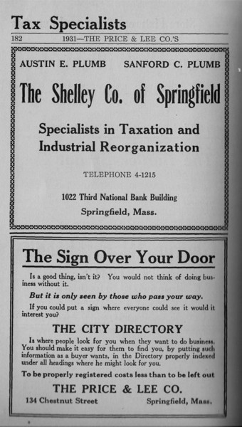 Springfield Directory Ads 1931 171