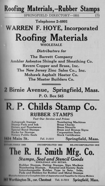 Springfield Directory Ads 1931 164