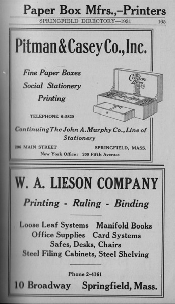 Springfield Directory Ads 1931 154