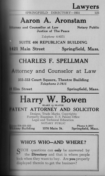 Springfield Directory Ads 1931 108