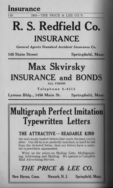 Springfield Directory Ads 1931 103
