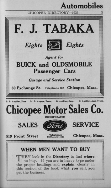 Springfield Chicopee Bus Directory 1933 01