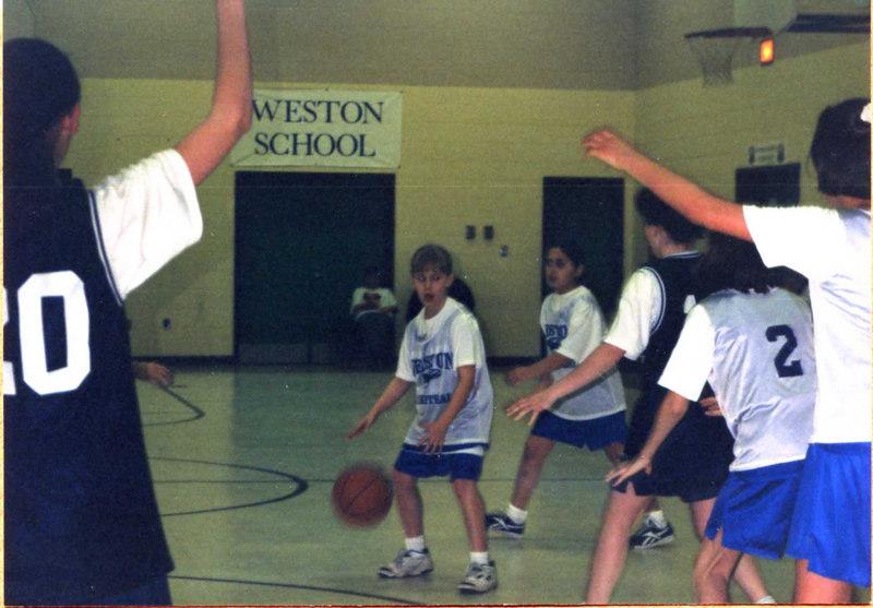 Janine Stickney on the girl's basketball team at Weston School