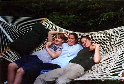 Janine, Kristen, & Sarah Stickney in Nana's (Fran Stickney)hammock in the back yard 2001