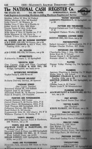 Agawam Business Directory 1958 10