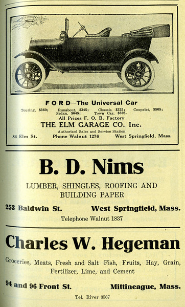 West Springfield Directory Ads 1917 04