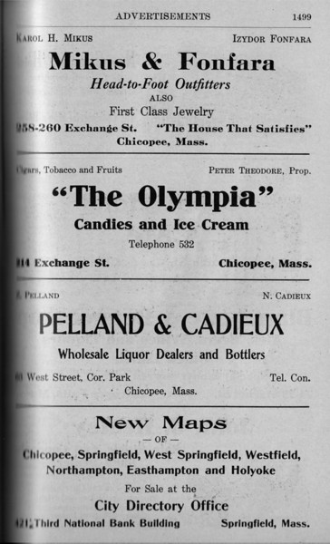 Chicopee Directory Ads 1917 09