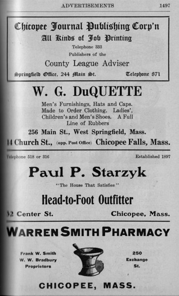 Chicopee Directory Ads 1917 07