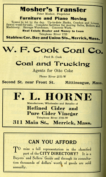 West Springfield Directory Ads 1917 02