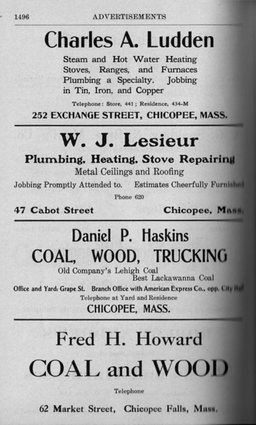 Chicopee Directory Ads 1917 06