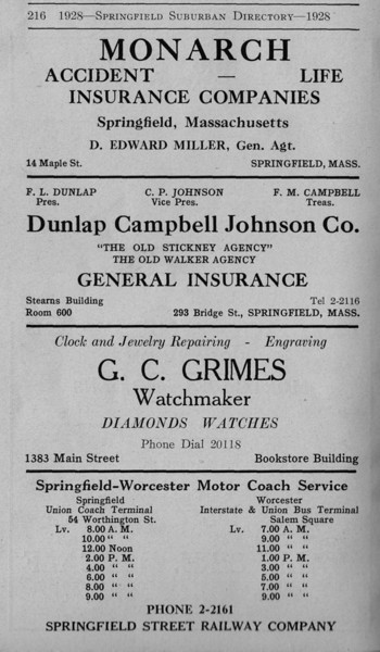 Suburban Directory Ads 1928 34
