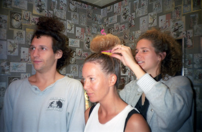 "Sears, Susan, and Lisa preparing for the ""Big Hair Party"""