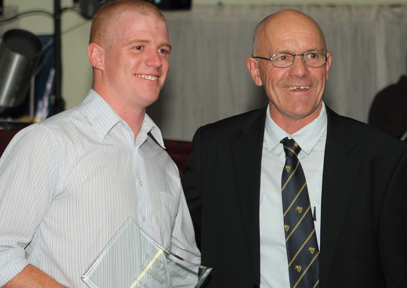 Fullback Mitch Blakeney after a 'Mad Monday' haircut with Jack Lee at Brahmans Presentation Night 2011.
