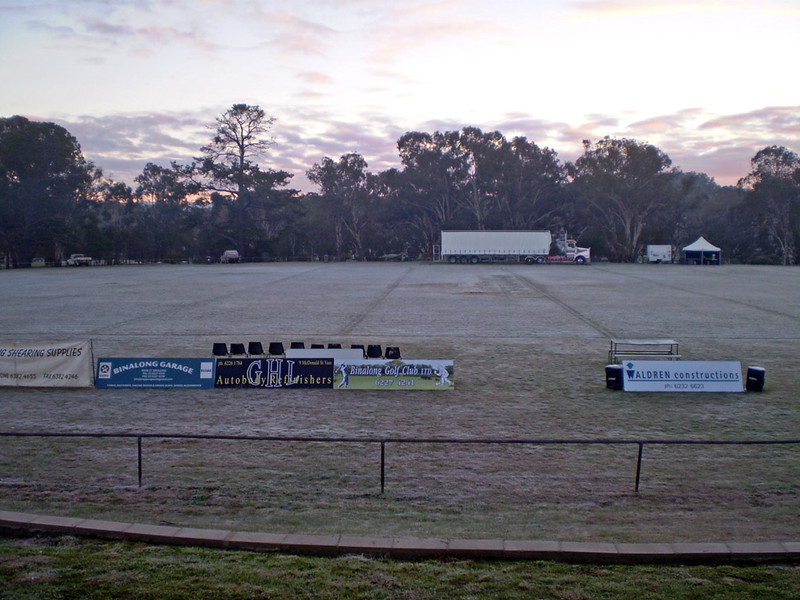 A solid frost greets Ray Hadley and 2GB's continuous call team at Binalong in July 2009.