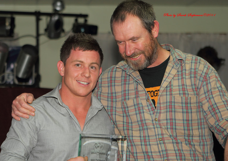 Leading try scorer for George Tooke Shield and Brahmans hooker in 2011 Luke Levett and Club supporter Adam Best..