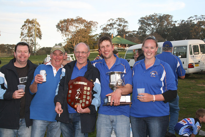"""L-R: Greg Weller, Curley Sykes, Jack Lee, Michael and Madaline Brayshaw with """"The Spoils of Victory"""" in 2010."""