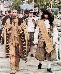 THE GREAT WALK TOWARD THE INDIAN VILLAGE OF CHKOUDUN (Maliseet Chief) ACCOMPAGNIED BY SAMUEL DE CHAMPLAIN (Cartographer) & PIERRE DE GUA DE MONTS (in between in back) *Photograph of David Nickerson - Telegraph Journal-Saint John NB - June 25 2005