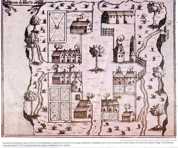 SETTLEMENT ON ST. CROIX ISLAND FOUNDED BY SIEUR DE MONTS AND SAMUEL DE CHAMPLAIN - This plan of St. Croix settlement, published long after the voyage, presents an idealized view of the encampment, which looks more like a European village.  The buildings were destroyed in 1613 by Captain Samuel Argall, a freebooter from Virginia.* Taken from The New Brunswick Reader June 26 2004
