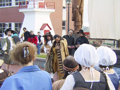 SAMUEL DE CHAMPLAIN EXCHANGING GIFTS WITH AN INDIAN BY THE NAME OF CHKOUDUN (Maliseet Chief)