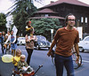 "5*Sat, Sep 27, 1969<br /> *People: Pierre, Rob, Laurie, 6  others<br /> Subject: wagon<br /> *Place: Dwight??, Berkeley<br /> Activity: ""Smog-Free Locomotion Day""<br /> Comments: I was a graduate student 1967 - 1973. Pulling my 2 kids in a protest march."