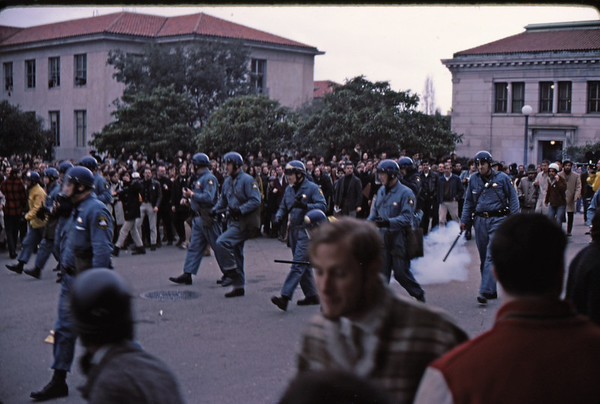 4*Wed, Feb 19, 1969<br /> *People: cops, crowd<br /> Subject: cherry bomb, rocks<br /> *Place: Dwinell Plaza<br /> Activity: twlf<br /> Comments: students yelling for cops to get out of here
