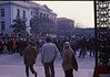 "5*Thu, Jan 30, 1969<br /> *People: 3 students, cops, crowd<br /> Subject: <br /> *Place: ""Blue Meannies"" under Sather Gate<br /> Activity: <br /> Comments: students puzzled, under sather gate, with sproul hall in background.  Mommy never said college would be like this!"