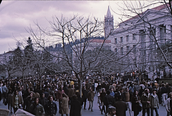 3*Fri, Feb 21, 1969<br /> *People: students<br /> Subject: gathering for march<br /> *Place: sproul plaza<br /> Activity: twlf<br /> Comments: