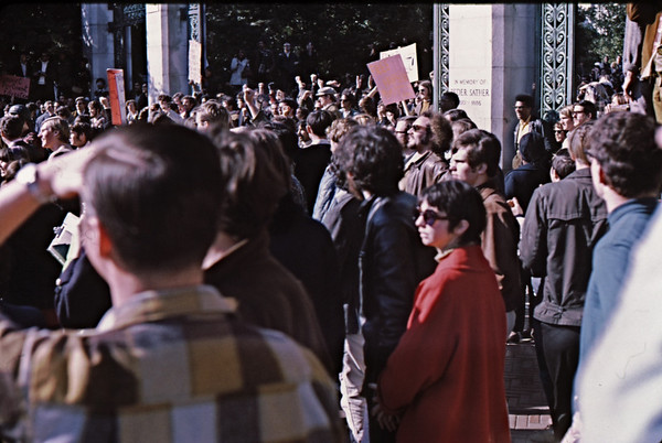 3*Sat, Feb 1, 1969<br /> *People: crowd<br /> Subject: <br /> *Place: Sather Gate<br /> Activity: <br /> Comments: That's far enough! This is our university!
