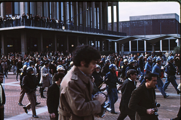 3*Thu, Jan 30, 1969<br /> *People: cops, crowd<br /> Subject: <br /> *Place: by student union<br /> Activity: charging thru plaza<br /> Comments: this was a big deal.  Cops on the campus.  No tear gas yet.  No shooting yet.