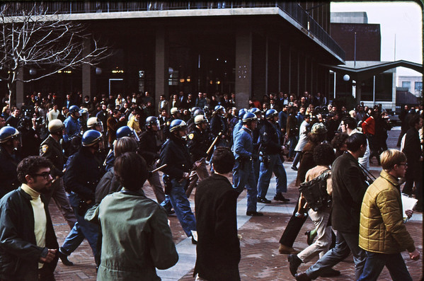 4*Thu, Jan 30, 1969<br /> *People: cops in line<br /> Subject: <br /> *Place: plaza<br /> Activity: <br /> Comments: clearing out plaza