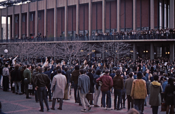 3*Wed, Feb 19, 1969<br /> *People: crowd<br /> Subject: <br /> *Place: sproul plaza<br /> Activity: twlf<br /> Comments: saluting police state of plaza