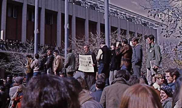 """4*Fri, Jan 31, 1969<br /> *People: Holy Hubert, crowd<br /> Subject: <br /> *Place: entrance to Sproul Plaza<br /> Activity: TWLF protest<br /> Comments: """"HAPPINESS IS A PEACFULL STUDENT""""  -- also, happiness is cops off campus!"""