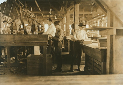 Tampa Cigar Box Factory, Tampa, Fla. Found 10 small boys and girls. Work is slack now. Bad reputation. Jan. 28, 1909.