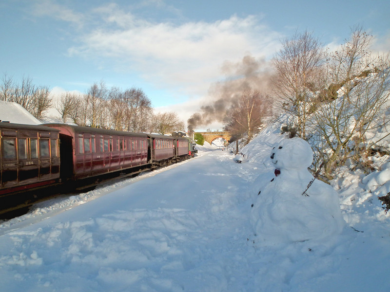 Snowman at Tanfield Railway