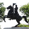 statue of Andrew Jackson, 7th President of the United States, riding his horse