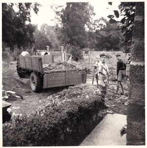 Neil & Ian Bisco with Martin Stokes help unload some rubble to the Kings Shoot driveway delivered by John Fowles with ashes tractor. (1960 ish)
